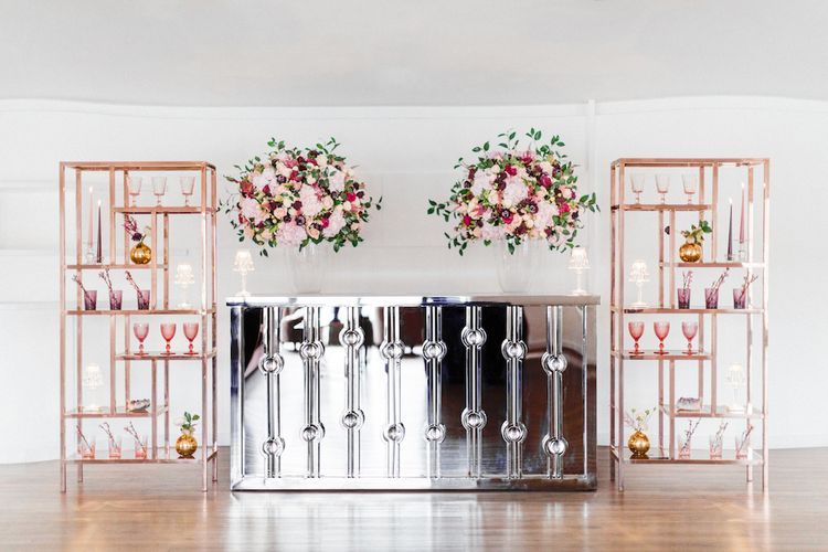 Mirror Bar, Copper Upstands from Great Hire & Rosehip London Floral Arrangement | Blush Pink Opulent London Engagement Party Inspiration Planned & Styled by Just Bespoke | Sanshine Photography
