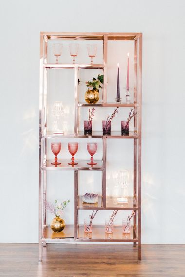 Copper Drinks Display from Great Hire | Mr Flavour Drinks in Classic Crockery Glassware | Blush Pink Opulent London Engagement Party Inspiration Planned & Styled by Just Bespoke | Sanshine Photography