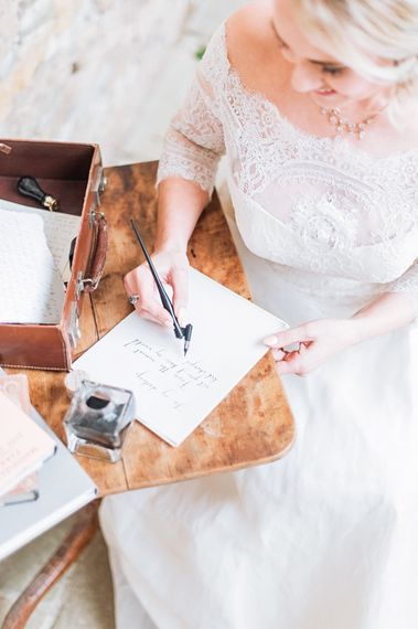 Calligraphy Love Letter | Blush Pink, Romantic, Country Wedding Inspiration at Tithe Barn, Dorset | Darima Frampton Photography