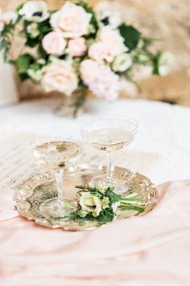 Champagne Saucers | Blush Pink, Romantic, Country Wedding Inspiration at Tithe Barn, Dorset | Darima Frampton Photography