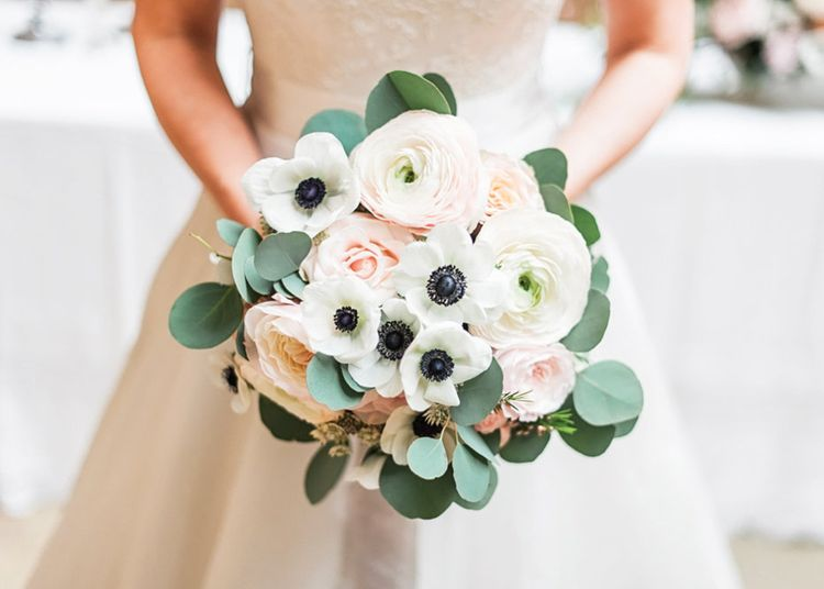 Pink & White Ranunculus & Anemone Bridal Bouquet | Blush Pink, Romantic, Country Wedding Inspiration at Tithe Barn, Dorset | Darima Frampton Photography