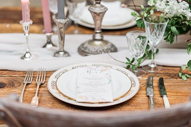 Elegant Place Setting with Vintage China Plate & Menu Card | Blush Pink, Romantic, Country Wedding Inspiration at Tithe Barn, Dorset | Darima Frampton Photography