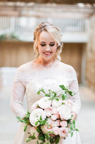 Bride in Lace, Bardot Bridal Gown | Ranunculus & Anemone Bridal Bouquet | Blush Pink, Romantic, Country Wedding Inspiration at Tithe Barn, Dorset | Darima Frampton Photography