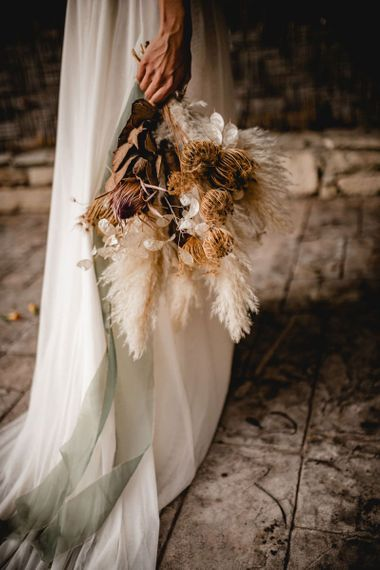 Dried flower bridal bouquet with pampas grass