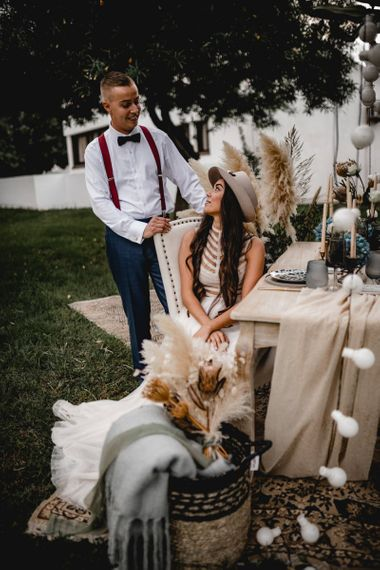 Bohemian elopement intimate reception table
