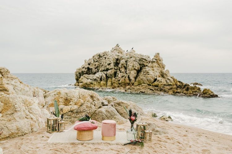 Intimate Beach Wedding Ceremony with Pink and Green Colour Scheme