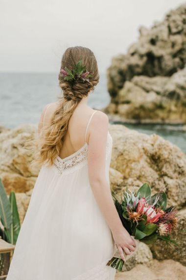 Bride with Half Up Half Down Wedding Hair and Fresh Flowers