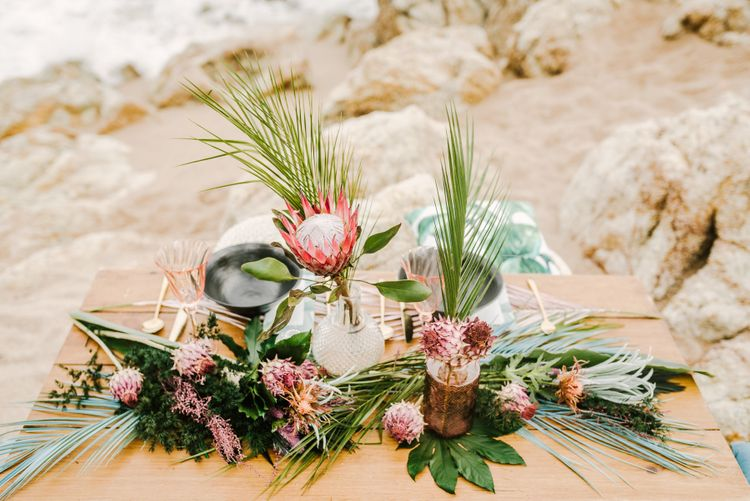 Sweetheart Table on the Beach with Tropical Wedding Flowers