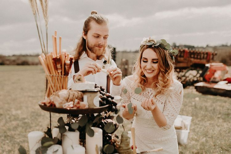 Grape & Fig Grazing Barrel | Two Bohemians Couple | Lucy Can't Dance Lace Bridal Gown | Boho at The Barns at Lodge Farm, Essex, by Rock The Day Styling | Kelsie Low Photography