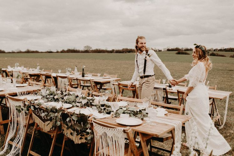 Trestle Tablescape | Two Bohemians Couple | Lucy Can't Dance Lace Bridal Gown | Boho at The Barns at Lodge Farm, Essex, by Rock The Day Styling | Kelsie Low Photography