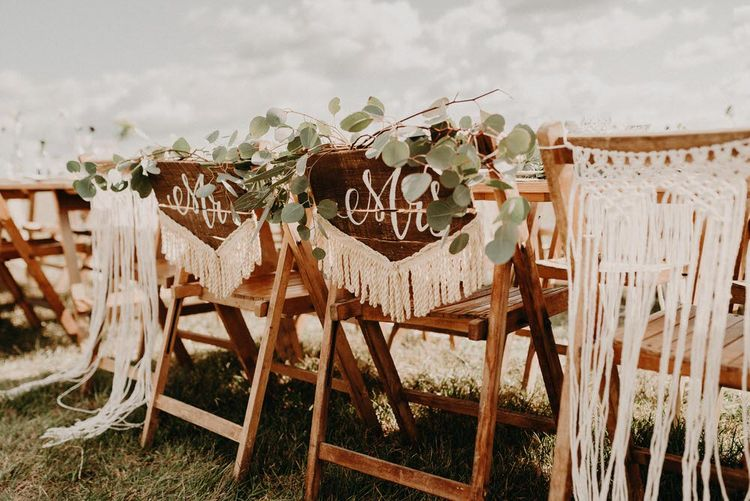 Macrame Chair Back Decor | Trestle Table Decor | Boho at The Barns at Lodge Farm, Essex, by Rock The Day Styling | Kelsie Low Photography