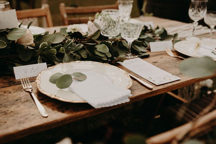 Vintage China Place Setting | Trestle Tablescape | Boho at The Barns at Lodge Farm, Essex, by Rock The Day Styling | Kelsie Low Photography