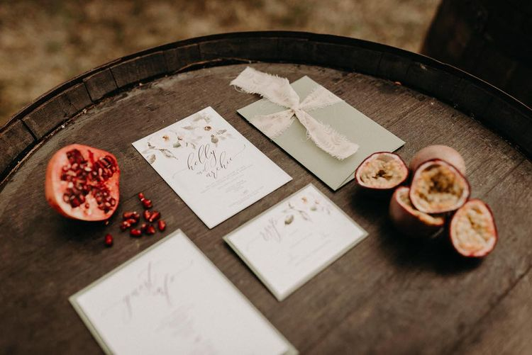 Wonderland Invites Wedding Stationery | Boho at The Barns at Lodge Farm, Essex, by Rock The Day Styling | Kelsie Low Photography