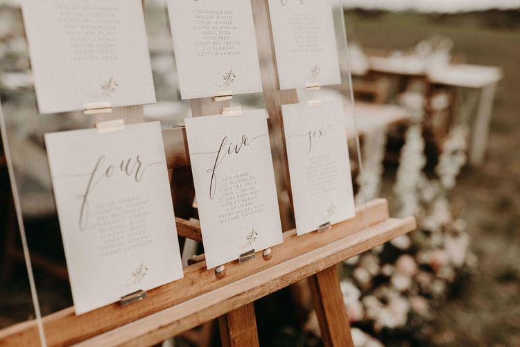 Acrylic Table Plan with Wonderland Invites Table Names | Boho at The Barns at Lodge Farm, Essex, by Rock The Day Styling | Kelsie Low Photography