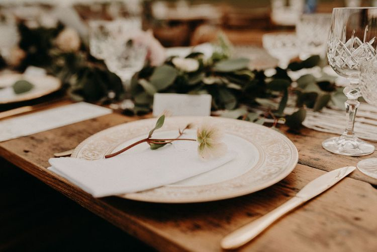 Vintage Plate Place Setting | Boho at The Barns at Lodge Farm, Essex, by Rock The Day Styling | Kelsie Low Photography