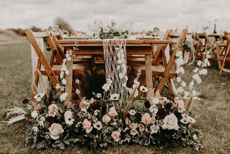 Rose and Anemone Floral Arrangement | Boho at The Barns at Lodge Farm, Essex, by Rock The Day Styling | Kelsie Low Photography