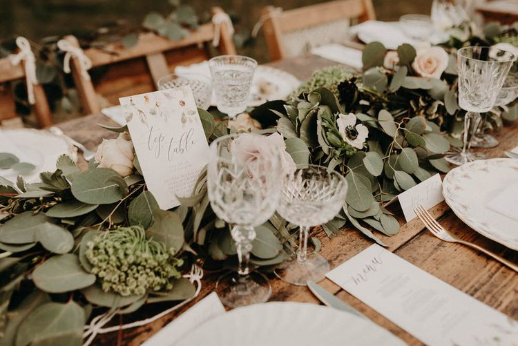Vintage China, & Glass Table Setting | Boho at The Barns at Lodge Farm, Essex, by Rock The Day Styling | Kelsie Low Photography