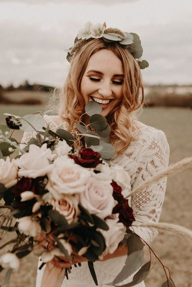 Two Bohemians Bride | Lucy Can't Dance Lace Bridal Gown | Boho at The Barns at Lodge Farm, Essex, by Rock The Day Styling | Kelsie Low Photography