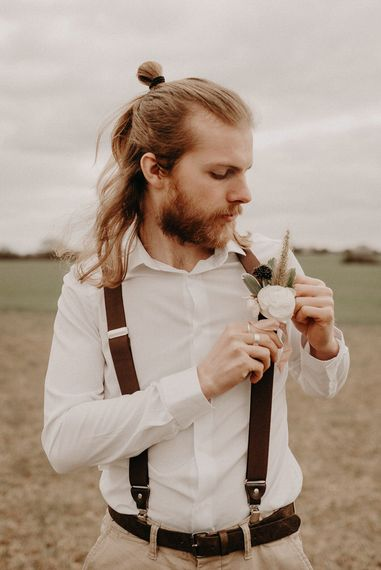 Two Bohemians Groom |Chinos, White Shirt & Braces | Boho at The Barns at Lodge Farm, Essex, by Rock The Day Styling | Kelsie Low Photography
