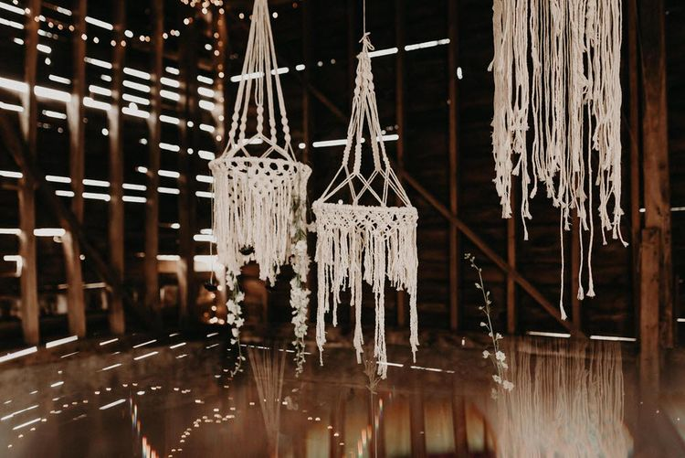 Macrame Wedding Decor | Boho at The Barns at Lodge Farm, Essex, by Rock The Day Styling | Kelsie Low Photography