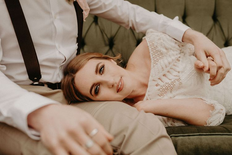 Beautiful Bride | Natural Flawless Makeup | Two Bohemians Couple | Boho at The Barns at Lodge Farm, Essex, by Rock The Day Styling | Kelsie Low Photography