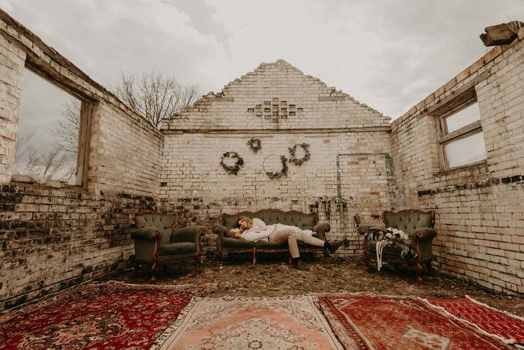 Antique Sofas | Two Bohemians Couple | Boho at The Barns at Lodge Farm, Essex, by Rock The Day Styling | Kelsie Low Photography