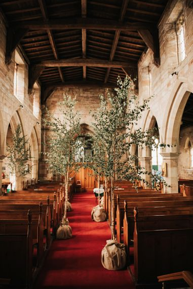 Silver Birch Trees For Wedding Aisle // Image By Rosie Kelly Photography