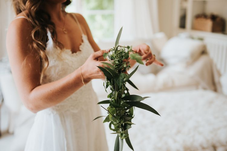 Foliage Crown For Bride // Image by Rosie Kelly Photography