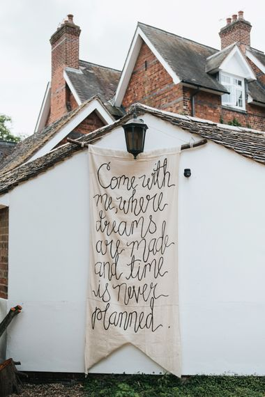 Hand Drawn Linen Welcome Sign For Wedding // Image By Rosie Kelly Photography