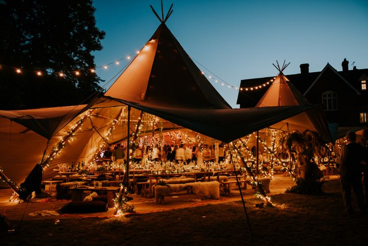 Tipi Wedding At Night // Image By Rosie Kelly Photography