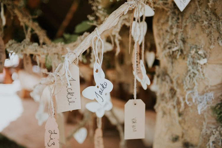 Papier Mache Tree Table Plan For Wedding // Image By Rosie Kelly Photography