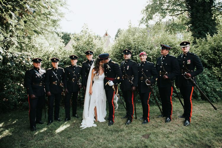 Groom & Groomsmen In Military Uniform For Wedding // Image By Rosie Kelly Photography