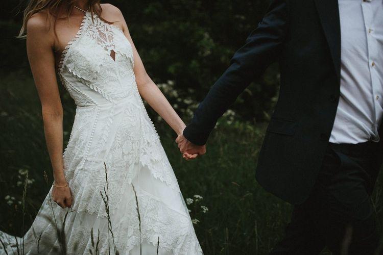 Halterneck lace wedding dress. . Boho wedding dresses