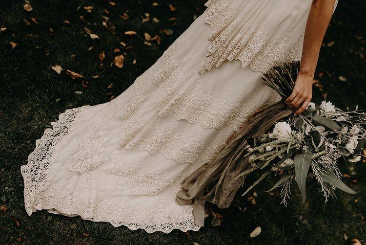 vintage lace layered wedding train. boho wedding dresses