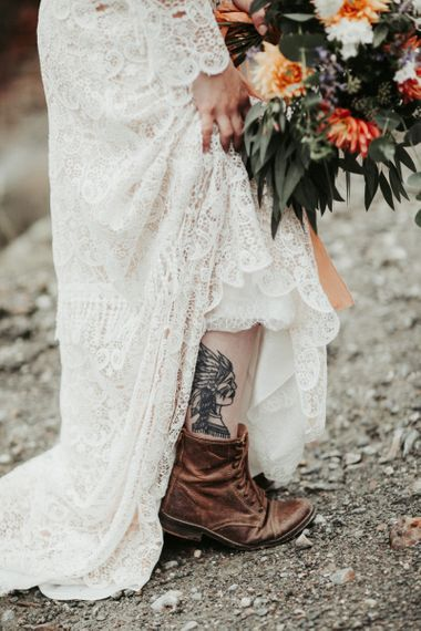 Brown bridal boots with lace wedding dress. . Boho wedding dresses