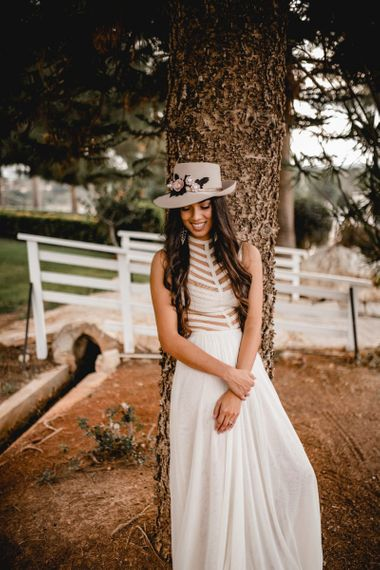 Felt hat decorated with flowers for boho bride. . Boho wedding dresses