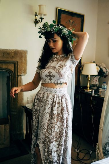 Lace bridal separates with front split on skirt. . Boho wedding dresses