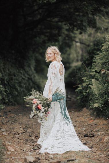 Bride in free-spirited Rue de Seine boho wedding dress