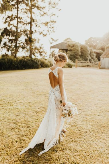 Grace Loves Lace Edie fringe wedding dress for boho bride