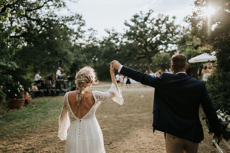 V back wedding dress with bridal braid