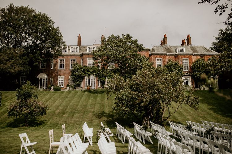 Outdoor wedding ceremony at Pelham House, Lewes Nr Brighton