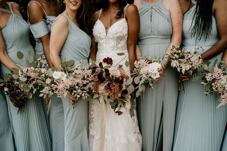 Wildflower bride and bridesmaids bouquets