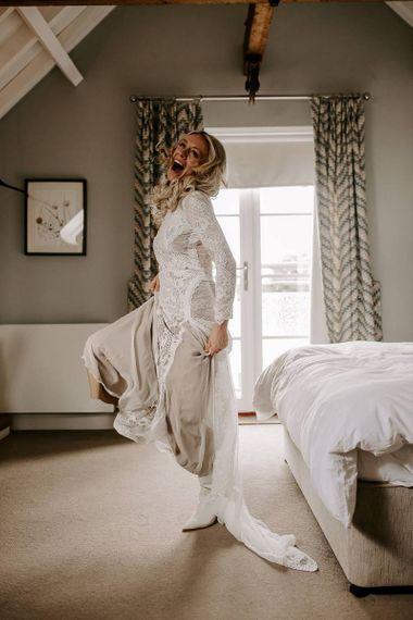 Boho bride dress with bridal boots