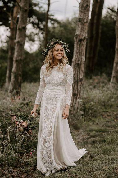 Grace Loves Lace wedding dress with Protea bouquet