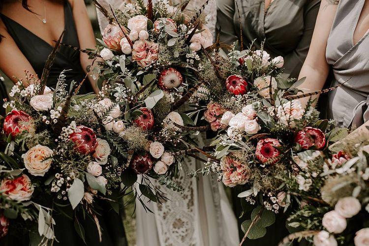 Protea bouquet for bridal party
