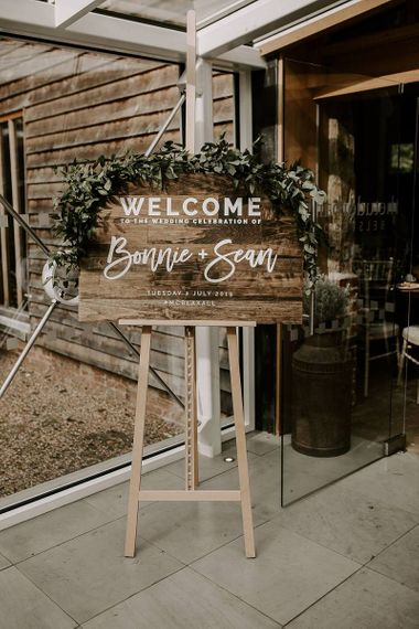Wooden welcome wedding sign
