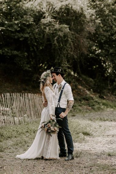 Bride and groom steal a moment after ceremony