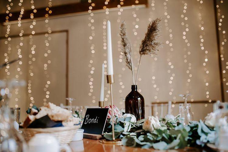 Fairy lights and wedding decor at The Tudor Barn