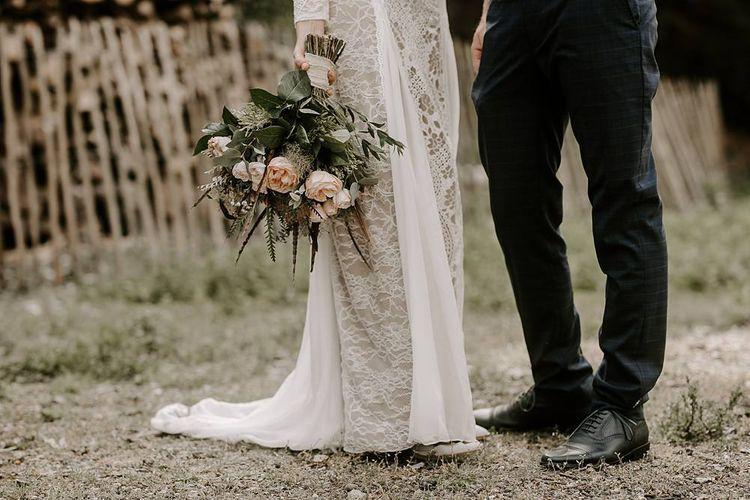 Protea bouquet for boho bride