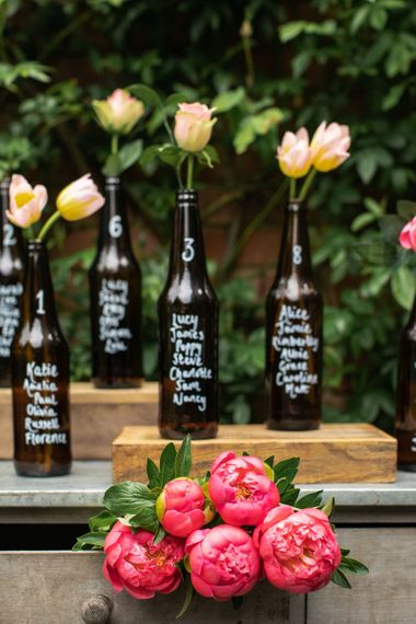 DIY table plan created out of dark brown beer bottles which have guests' names written upon them